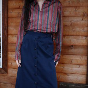 Vintage Deadstock Knee Length A-line Navy Skirt